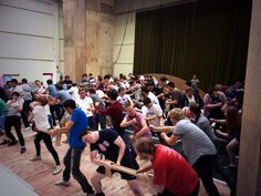 """Only Boys Aloud rehearsing as Lumberjacks for the Welsh National Opera's production of Britten's Paul #Bunyan """"2013"""""""