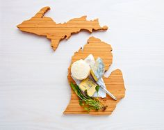 AHeirloom's Michigan State Shaped Cutting Board by AHeirloom with heart over Plainwell/Kalamazoo $48