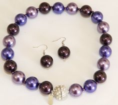 Formal Large 18mm Eggplant, Orchid, Violet Faux Pearl Knotted Necklace & Earring Set - Prom/Bridesmaid JewelryStylist.com http://www.amazon.com/dp/B00C79XBS0/ref=cm_sw_r_pi_dp_Vo7uvb1XCZ8F6