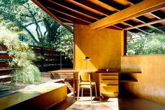 "roomonfire-good-design: ""The Schaffer Residence, 1949 by American architect John Lautner. Hidden in a wooded valley at the foot of the Verdugo Mountains, the redwood, concrete and glass residence. John Lautner, Interior Architecture, Interior And Exterior, Interior Design, Tom Ford Interior, Modern Interior, Modern Furniture, Furniture Design, Interior Decorating"