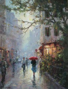 """Ivars Jansons – """"A Glade Shower, Paris"""" - Art Painting Watercolor Landscape, Landscape Paintings, Watercolor Paintings, Watercolours, Rain Art, Umbrella Art, City Painting, Impressionist Art, Beautiful Paintings"""