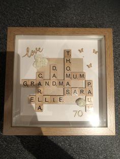 #scrabbleart  #scrabbleframe #personalisedgifts #70thbirthday #mumgift #frameart #familyshadowboxframe #familyframe #scrabbletiles #personalisedframe Scrabble Frame, Scrabble Art, Scrabble Tiles, Personalised Frames, Personalized Gifts, Shadow Box Frames, 70th Birthday, Gifts For Mum, Framed Art