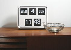 Digital clock with date and time.