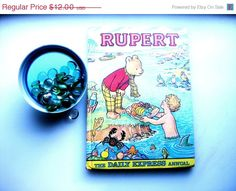 Rupert Annual 1975 Darling Comic Strip Character from The British Daily Express Anthropomorphic Vintage Book Treasure - pinned by pin4etsy.com