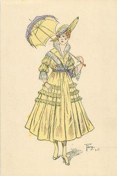 sombrilla abierta sobre su hombro izquierdo, vestido de color amarillo pálido