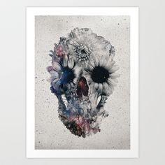 Floral Skull 2 Art Print by Ali GULEC - $18.00