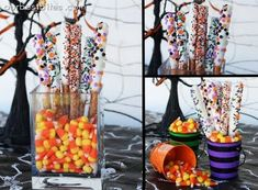 Dipped pretzel rods - perfect for a Halloween party. Halloween Pretzels, Halloween Goodies, Halloween Food For Party, Halloween Birthday, Holidays Halloween, Spooky Halloween, Halloween Treats, Vintage Halloween, Witch Party