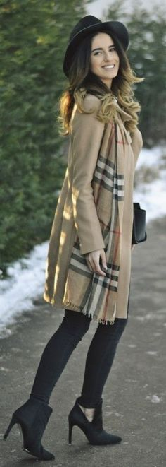 camel coat, Burberry scarf, black jeans, black ankle boots