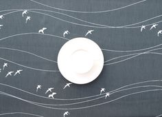 Tablecloth coal grey white Birds Modern Scandinavian Design , runner , napkins , pillow , curtains available, great GIFT