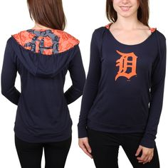 Detroit Tigers Women's Navy Blue Sublime Pullover Hoodie