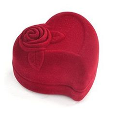 Mallofusa Heartshaped Velvet Red Gift Box Case for Ring Earring Jewelry *** Check this awesome product by going to the link at the image. (This is an affiliate link and I receive a commission for the sales)