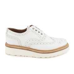 Get Grenson Women's Emily Leather Brogues - White Calf now at Coggles - the one stop shop for the sartorially minded shopper. Free UK & EU delivery when you spend White Oxford Shoes, White Platform Shoes, White Flat Shoes, Oxford Platform, White Leather Shoes, Leather Brogues, Women Oxford Shoes, Lace Up Flats, Brogues Outfit