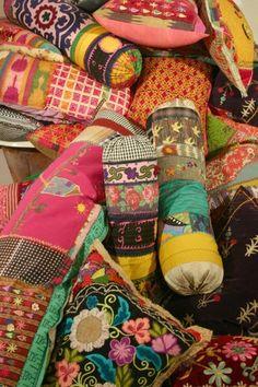 pillows - pattern layering - boho flowers