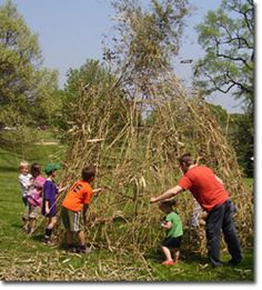 Kids building a hut