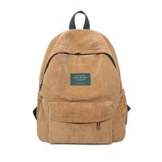 Unisex Simple Plain Corduroy Backpack (621.645 IDR) ❤ liked on Polyvore featuring bags, backpacks, rucksack bag, knapsack bag, daypack bag, day pack backpack and beige backpack