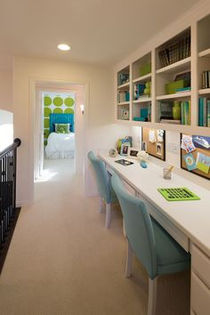 Instead of cramming a desk into each kid's room, consider adding a smart homework nook, where everything is in one stylish space. Highland Homes | Lawler Park 65s | Homework Nook | Frisco, TX | Plan 794
