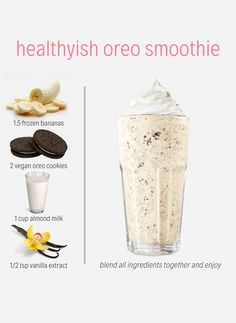 Enter this 'Healthyish Oreo Smoothie'. A recreation of an Oreo Milkshake that is dairy free and the perfect indulgence for a hot summer day. ✔️Simply add all ingredients to a blender and combine until you achieve smoothie Oreo packed goodness. Oreo Smoothie, Oreo Milkshake, Coconut Milkshake, Milkshakes, Smoothie Vert, Strawberry Banana Smoothie, Vegan Milkshake Recipes, Fruit Smoothie Recipes, Easy Smoothies