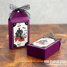 Everything Essential Treat Box [VIDEO] - The Paper Pixie Up Halloween, Halloween Cards, Halloween Treats, Halloween Treat Holders, Candy Favors, Favours, Fun Fold Cards, Valentine Treats, Paper Gifts