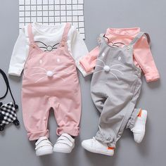 Spring Newborn Baby Girls Clothing sets Fashion Suit Long Sleeve T-shirt + pants baby suit Girls Outerwear set sportswear Baby Outfits, Winter Outfits For Girls, Kids Outfits Girls, Rock Outfits, Emo Outfits, Spring Outfits, Baby Girl Jumpsuit, Baby Dress, Dress Set