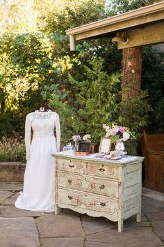Vintage Wedding Dress Guestbook Table Decor