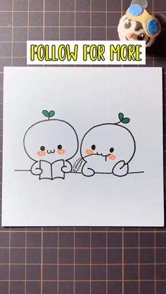 Easy Doodles Drawings, Easy Doodle Art, Cute Cartoon Drawings, Cute Easy Drawings, Art Drawings Sketches Simple, Simple Doodles, Cute Doodles, Simple Drawings For Kids, Drawing For Kids