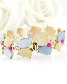 Multi Oval Gemstone Gold Link Bracelet - Sheinside.com