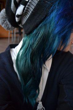 Blue and dark green ombré long hair.