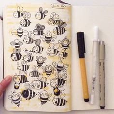 Day 30, Bee #CBDrawADay #creativebug #doodle #sketchbook #moleskineart #linedrawing #bee