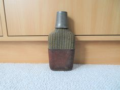 Vintage Hip Flask Wicker Leather Brevetes Metal by ClassicKarma