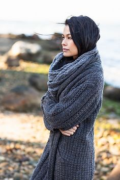 'Landfall' Long Cozy Cardigan Knitting Pattern by Veronik Avery