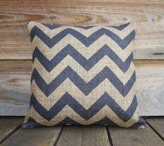 Blue Chevron Pillow Cover, Burlap, Decorative Throw Pillow, Feed Sack, Cushion, Accent Pillow, Zig Zag, Beige, 16x16