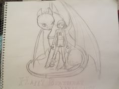 WIP doodle for HTTYD'S 5TH BIRTHDAY PEOPLE!!!! Granted, the actual birthday was on Saturday, but the picture wasn't finished in time. It will be finished soon, though!!! ((By Maggie Rice))