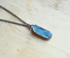 Raw Kyanite Necklace Blue Kyanite Pendant by AmandaLeilaniDesigns, $45.00
