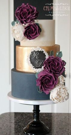 Navy, Gold and Burgundy Wedding Cake by Crumbs Cake Boutique. www.crumbscakeboutique.com #goldweddingcakes