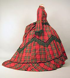 Day dress, ca 1871.   That's a lot of plaid!
