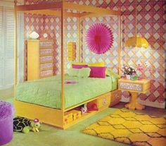 Vintage Retro Decor Bedroom Bright Boho Kitschy Geometric Idea Interior Fun Wallpaper Pink Green Yellow Flashy Bright Color Stylish