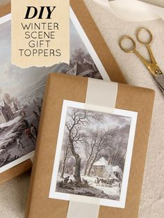 Winter Artwork scenes DIY Gift Toppers via Design Sponge - The BEST DIY Gift Toppers - Pretty and EASY Inexpensive Handmade Ideas for Christmas, Birthdays, Holidays and any special occasion!