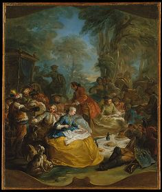 The Picnic after the Hunt  Carle (Charles André) Vanloo  (French, 1705–1765)    Medium:      Oil on canvas  Dimensions:      23 1/4 x 19 1/2 in. (59.1 x 49.5 cm)  Classification:      Paintings  Credit Line:      Wrightsman Fund, 1995  Accession Number:      1995.317    This artwork is currently on display in Gallery 621