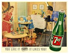 7-Up likes you! :) #vintage #food #drinks #ads #1940s
