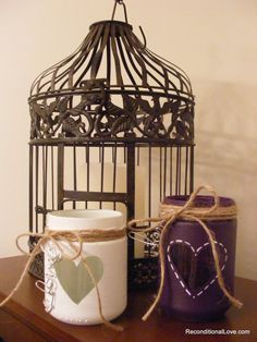 Rustic Wedding Candle Holders, Rustic Wedding Centerpiece, Rustic Wedding, Hand Painted Jars