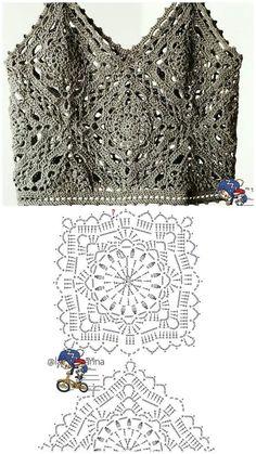 T-shirt Au Crochet, Pull Crochet, Mode Crochet, Crochet Motifs, Crochet Shirt, Granny Square Crochet Pattern, Crochet Diagram, Crochet Squares, Irish Crochet