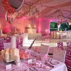 #DecorLighting #Uplighting | Follow #Professionalimage ~ I love the centerpieces and the light pink uplighting