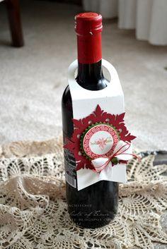"""Wine bottle tag created using Papertrey Ink Wine Bottle Tag Die, Damask Snowflakes Die, Limitless Layers 1.75"""" Die, Tag Its"""