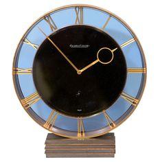 Art Deco Jaeger-Lecoultre Bronze and Glass Clock / Switzerland, c. 1930s