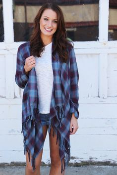 Mad For Plaid Lightweight Cardigan {Navy} - The Rage - 1