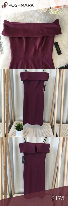 Off The Shoulder Plum Midi Dress Brand new beautiful evening dress in a deep plum/ garnet color. Off the shoulder style with zip back and seaming down the bodice! So stunning! Laundry by Shelli Segal, size 0 (xs) brand new with tags Laundry by Shelli Segal Dresses Midi