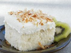 Coconut Tres Leches Cake Add a tropical twist to your dessert table with this delightful coconut cake that's made with Betty Crocker® SuperMoist® cake mix. Desserts Menu, Just Desserts, Delicious Desserts, Dessert Recipes, Yummy Food, Coconut Desserts, Mini Desserts, Yummy Eats, Cupcake Recipes