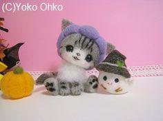 Fieltro de lana aula el blog oficial Yoko Oko, de como el Café de cafe yomofelt Softies, Plushies, Felt Animals, Cute Animals, Needle Felted Cat, Felted Wool Crafts, Gatos Cats, Cat Cafe, Felt Cat