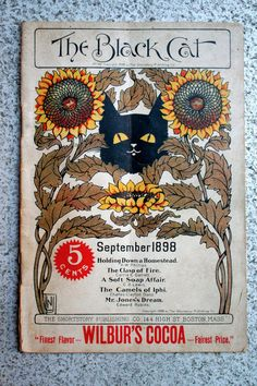 """THE BLACK CAT MAGAZINE SEP 1898~No. 36~5 CENTS~BLACK CAT COVER~GREAT ADS"""