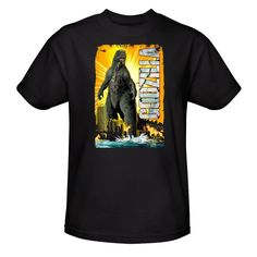 Godzilla Comic Style Adult Black T-Shirt from Warner Bros.: Inspired by classic comic book art, this Godzilla… #Movies #Films #DVD Video